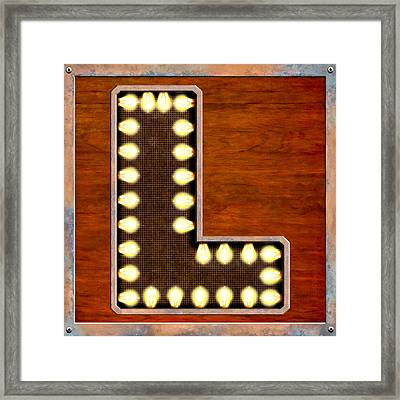 Retro Marquee Lighted Letter L Framed Print by Mark E Tisdale