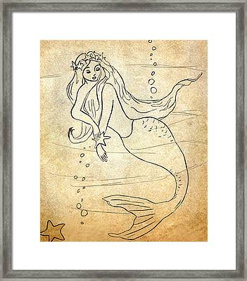 Retro Mermaid Framed Print by Rosalie Scanlon