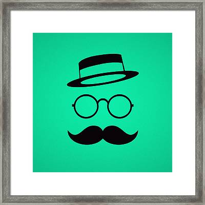 Retro Minimal Vintage Face With Moustache And Glasses Framed Print by Philipp Rietz