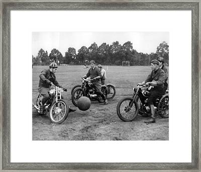 Retro Motorcycle Soccer  Framed Print by Retro Images Archive