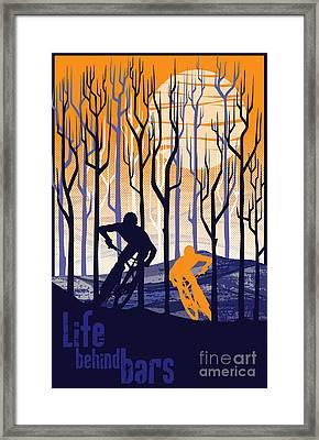 Retro Mountain Bike Poster Life Behind Bars Framed Print