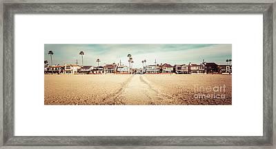 Retro Newport Beach Panorama At 11th Street And Balboa Framed Print by Paul Velgos