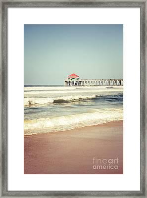 Retro Photo Of Huntington Beach Pier  Framed Print by Paul Velgos