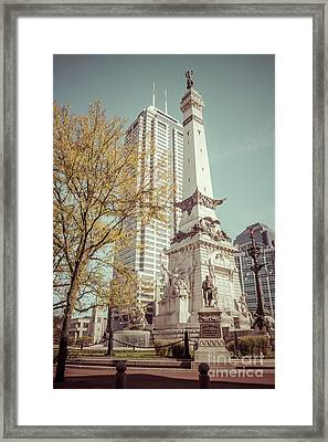 Retro Picture Of Indianapolis Soldiers And Sailors Monument  Framed Print