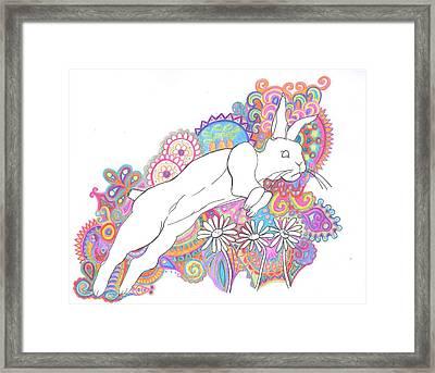 Retro Rabbit 2 Framed Print by Cherie Sexsmith