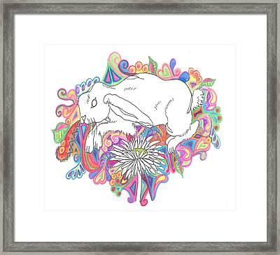 Retro Rabbit Framed Print by Cherie Sexsmith