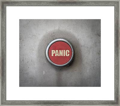 Retro Red Industrial Panic Button Framed Print