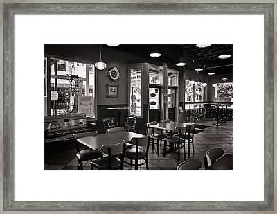 Retro Restaurant In B/w Framed Print by Greg Jackson