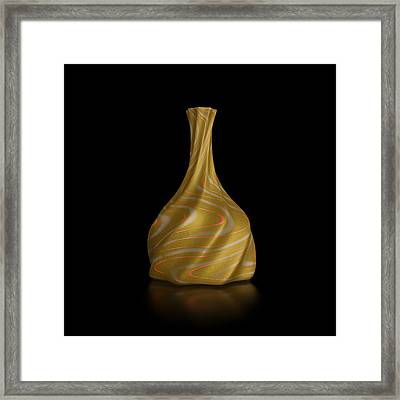 Retro Revival Vase Isolated On Black Framed Print by Andrii Kondiuk