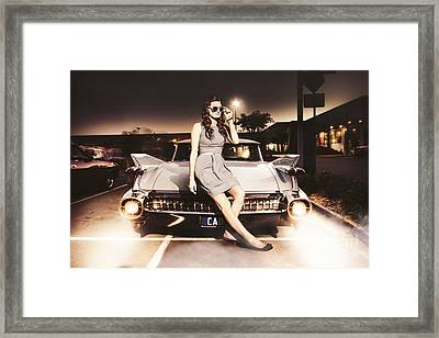 Retro Sixties Pinup Girl On Vintage Car Framed Print