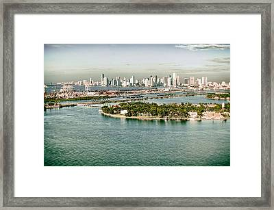 Framed Print featuring the photograph Retro Style Miami Skyline And Biscayne Bay by Gary Dean Mercer Clark