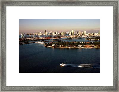 Retro Style Miami Skyline Sunrise And Biscayne Bay Framed Print