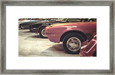 Retro Styled Image Of Muscle Cars Framed Print