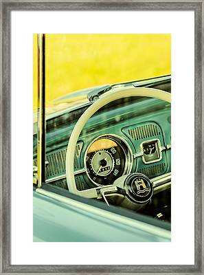 Retro Styled Image Of The Interior Of A Volkswagen Beetle Framed Print