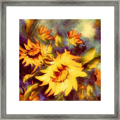 Retro Sunflowers Framed Print by Georgiana Romanovna