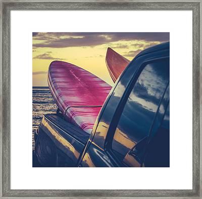 Retro Surf Boards In Truck Framed Print
