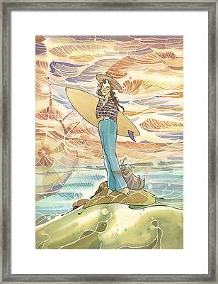 Retro Surfer Framed Print