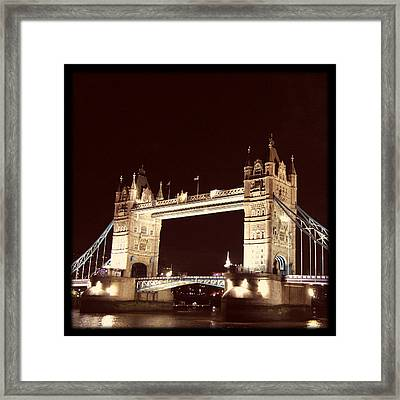 Retro Tower Bridge Framed Print by Heidi Hermes