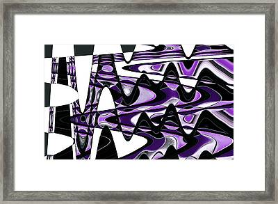 Retro Waves Abstract - Purple Framed Print