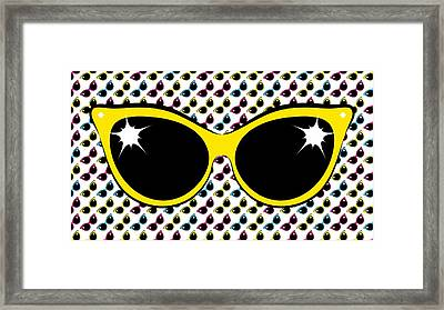 Retro Yellow Cat Sunglasses Framed Print by MM Anderson