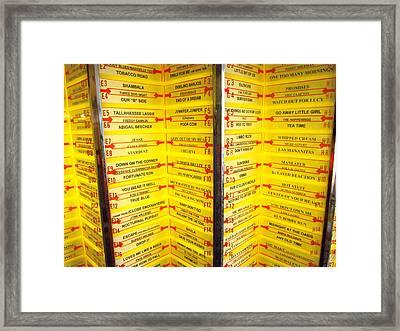 Retro Yellow Jukebox Music Framed Print by Diane McElhaney