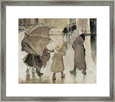 Return To School Oil On Panel Framed Print by Henri Jules Jean Geoffroy