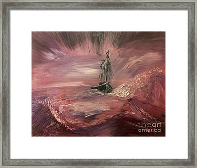 Return To Shores In Deep Red Framed Print