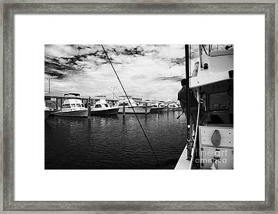 Returning Charter Fishing Boat Charter Boat Row City Marina Key West Florida Usa Framed Print by Joe Fox