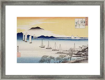 Returning Sails At Yabase Framed Print by Hiroshige