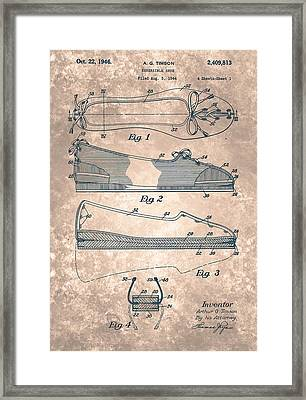 Reversible Shoe  Patent From 1946 Framed Print by Celestial Images