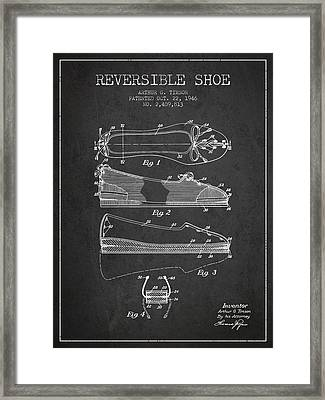 Reversible Shoe Patent From 1946 - Charcoal Framed Print by Aged Pixel
