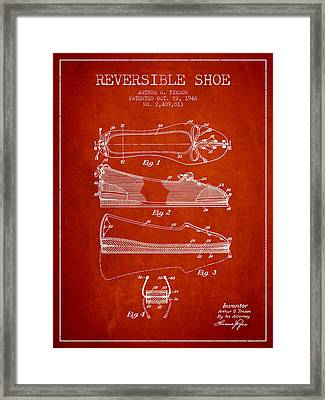Reversible Shoe Patent From 1946 - Red Framed Print by Aged Pixel