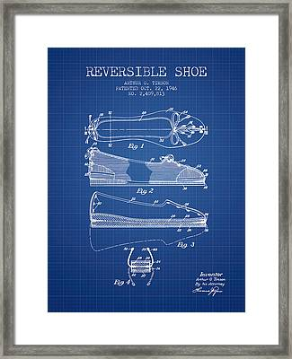 Reversible Shoe Patent From 1946 - Blueprint Framed Print by Aged Pixel