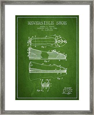 Reversible Shoe Patent From 1946 - Green Framed Print by Aged Pixel