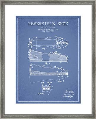 Reversible Shoe Patent From 1946 - Light Blue Framed Print by Aged Pixel