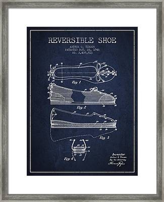 Reversible Shoe Patent From 1946 - Navy Blue Framed Print by Aged Pixel