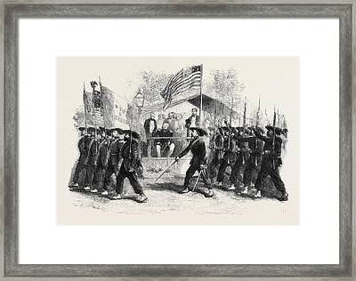 Review Of Federal Troops On The 4th Of July By President Framed Print by English School