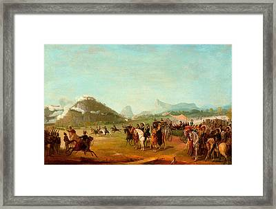Review Of The Troops Headed For Montevideo At Praia Grande Framed Print by Jean-Baptiste Debret