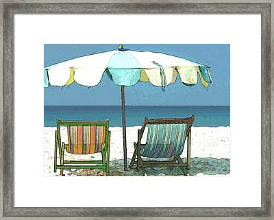 Seaside Beach Umbrella And Chairs Framed Print by Elaine Plesser
