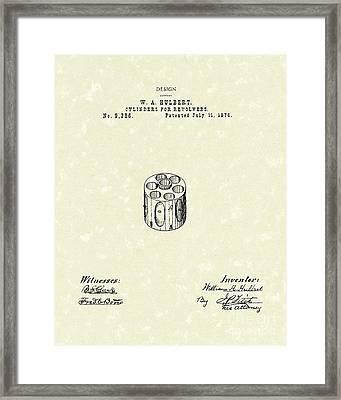 Revolver Cylinder 1876 Patent Art Framed Print by Prior Art Design