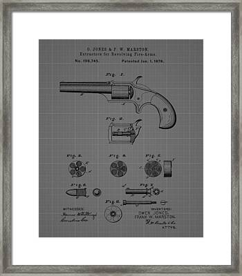 Revolver Firearm Patent Blueprint Drawing Framed Print by Dan Sproul