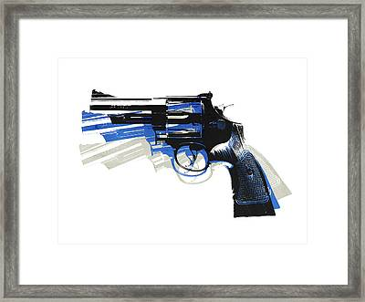 Revolver On White - Left Facing Framed Print by Michael Tompsett
