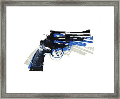 Revolver On White - Right Facing Framed Print by Michael Tompsett