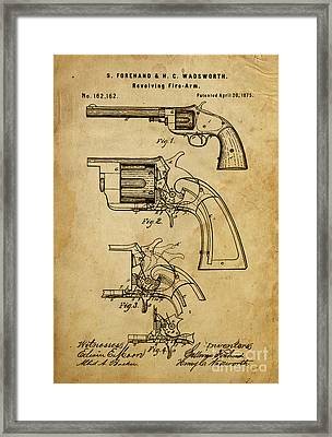 Revolving Fire-arm - Patented On 1875 Framed Print by Pablo Franchi