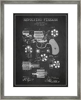 Revolving Firearm Patent Drawing From 1881 - Dark Framed Print