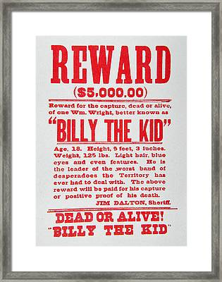 Reward Poster For Billy The Kid Framed Print