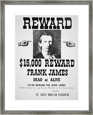 Reward Poster For Frank James Framed Print