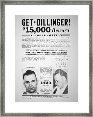 Reward Poster For John Dillinger Framed Print by American School