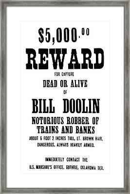 Reward Poster Framed Print by Granger