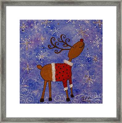 Framed Print featuring the painting Rex The Reindeer by Jane Chesnut